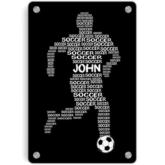 Soccer Metal Wall Art Panel - Personalized Soccer Words Male