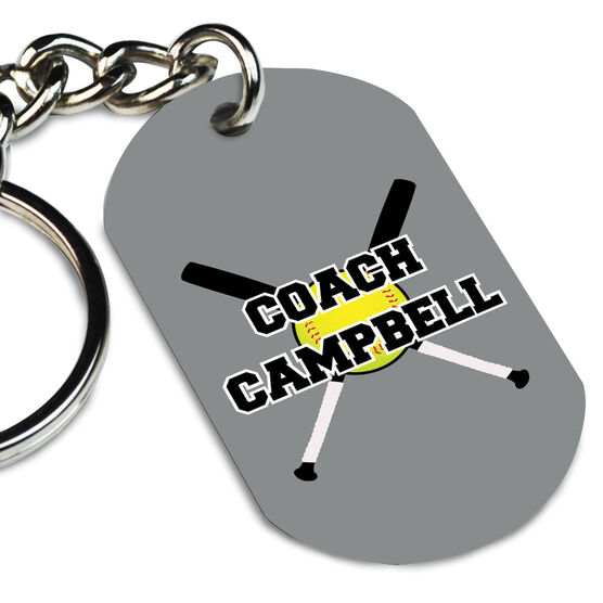 Softball Printed Dog Tag Keychain Personalized Coach with Crossed Bats