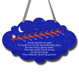 Crew Cloud Sign Rowing Reindeer and Santa