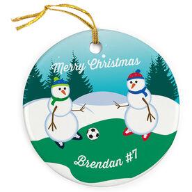 Soccer Porcelain Ornament Kickoff Snowman
