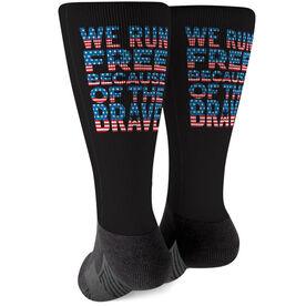 Running Printed Mid-Calf Socks - We Run Free Patriotic
