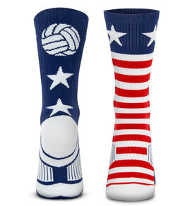 Volleyball Woven Mid-Calf Socks - Patriotic