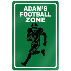 "Football 18"" X 12"" Aluminum Room Sign Personalized Football Zone"