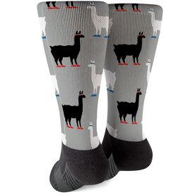 Running Printed Mid-Calf Socks - Running Llamas