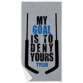 Hockey Premium Beach Towel - My Goal is To Deny Yours (Goalie)