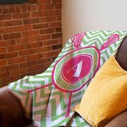 Girls Lacrosse Premium Blanket - Single Letter Monogram with Crossed Sticks and Chevron