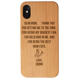 Figure Skating Engraved Wood IPhone® Case - Dear Mom Thank You Heart