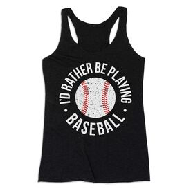 Baseball Women's Everyday Tank Top - Rather Be Playing Baseball Distressed