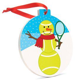 Tennis Round Ceramic Ornament -Tennis Snowman