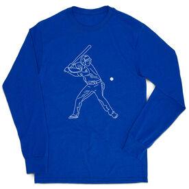 Baseball Tshirt Long Sleeve - Baseball Player Sketch