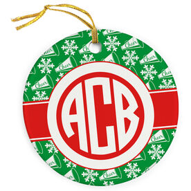 Cheer Porcelain Ornament Monogram with Megaphone Pattern