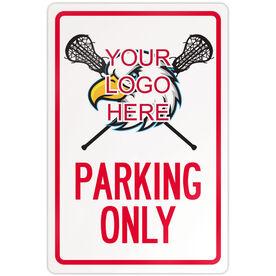 "Lacrosse 18"" X 12"" Aluminum Room Sign Custom Girls Lacrosse Logo Parking Only"