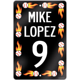 """Baseball Aluminum Room Sign Personalized Baseball Speed Sign With Flames (18"""" X 12"""")"""