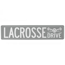 """Guys Lacrosse Aluminum Room Sign - Lacrosse Drive With Number (4""""x18"""")"""