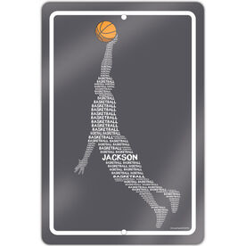 """Basketball Aluminum Room Sign Personalized Basketball Words Guy (18"""" X 12"""")"""
