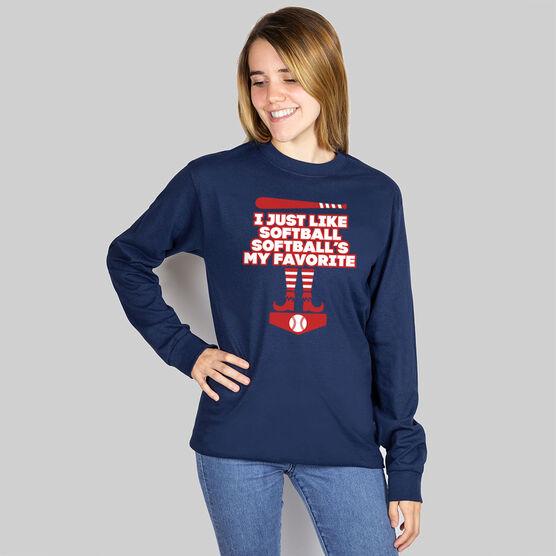 Softball Long Sleeve T-Shirt - Softball's My Favorite