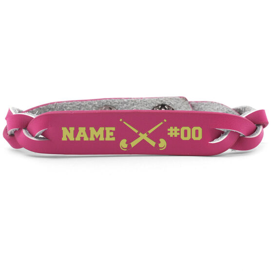 Field Hockey Leather Engraved Bracelet Name Crossed Sticks Number