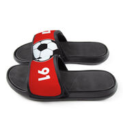 Soccer Repwell® Slide Sandals - Ball and Number Reflected