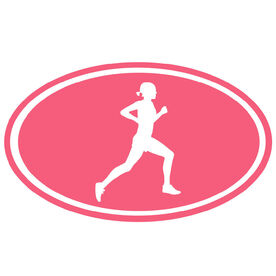 Running Girl Silhouette Oval Running Decal