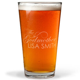 Personalized 16 oz. Beer Pint Glass - The Godmother