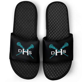 Girls Lacrosse Black Slide Sandals - Monogram with Lax Sticks