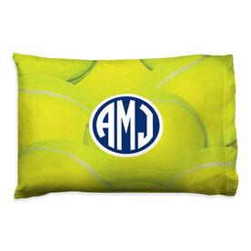 Tennis Pillowcase - Monogrammed Ball Background