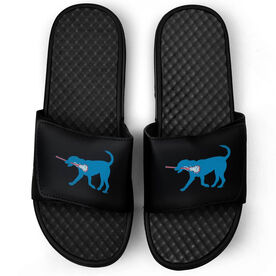 Girls Lacrosse Black Slide Sandals - Lexi the Lax Dog