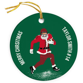 Football Porcelain Ornament Run Santa