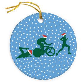 Triathlon Porcelain Ornament Silhouette With Santa Hat