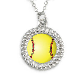 Braided Circle Necklace Stitched Softball Graphic
