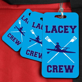 Crew Bag/Luggage Tag Personalized Rower with Crossed Oar