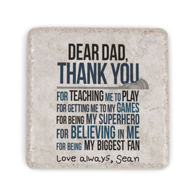Guys Lacrosse Stone Coaster - Dear Dad (Autograph)