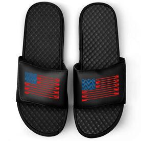 Crew Black Slide Sandals - American Flag