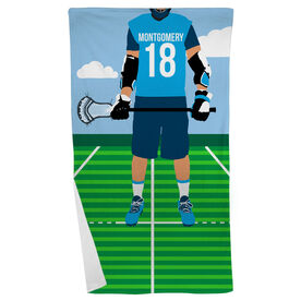 Guys Lacrosse Beach Towel - Guys Lacrosse Player
