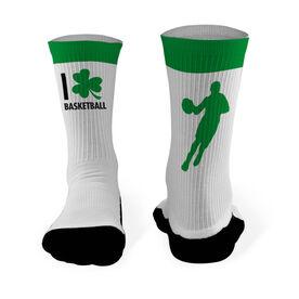 Basketball Printed Mid Calf Socks I Shamrock Basketball Guy