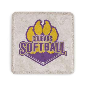Softball Stone Coaster - Custom Softball Logo