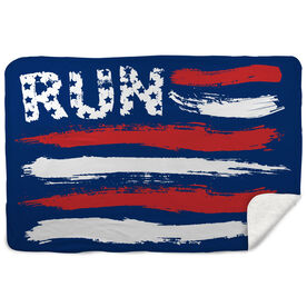 Running Sherpa Fleece Blanket - Run For The Red White and Blue