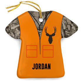 Personalized Porcelain Ornament - Hunting Camo Vest With Deer