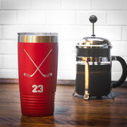 Hockey 20 oz. Double Insulated Tumbler - Personalized Crossed Sticks