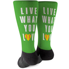 Softball Printed Mid-Calf Socks - Live What You Love