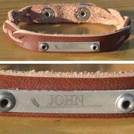 Hockey Plated Leather Bracelet Hockey Stick And Name