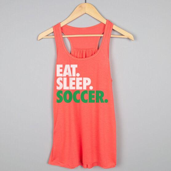 Soccer Flowy Racerback Tank Top - Eat Sleep Soccer (Bold Text)