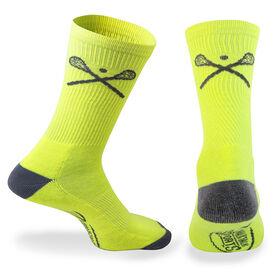 Lacrosse Woven Mid-Calf Socks - Crossed Sticks (Neon/Gray)