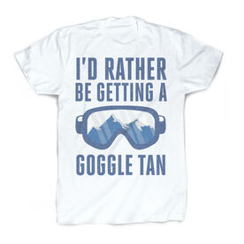 Skiing & Snowboarding Vintage T-Shirt - I'd Rather Be Getting A Goggle Tan