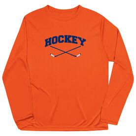 Hockey Long Sleeve Performance Tee - Hockey Crossed Sticks Logo