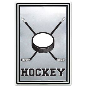 """Hockey Stick and Puck Aluminum Room Sign (18"""" X 12"""")"""