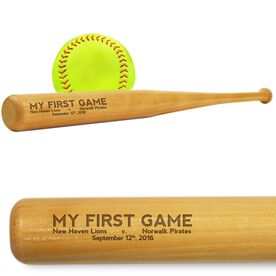 Softball Mini Engraved Bat My First Game