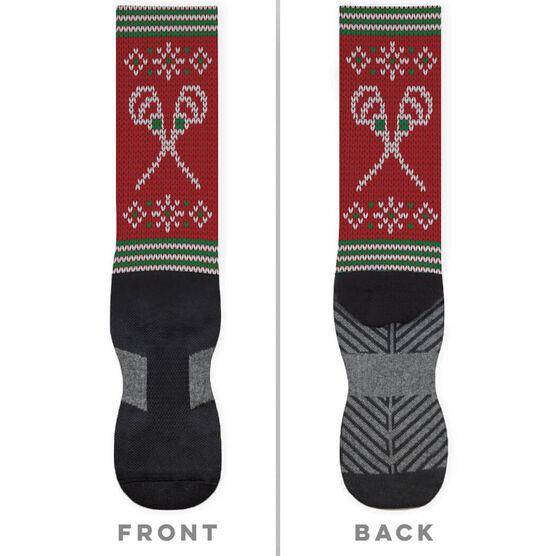 Lacrosse Printed Mid-Calf Socks - Christmas Knit