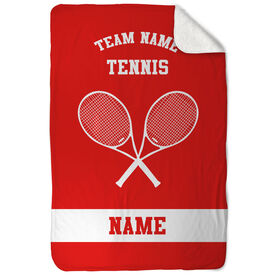 Tennis Sherpa Fleece Blanket - Personalized Team with Crossed Rackets
