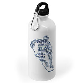 Hockey 20 oz. Stainless Steel Water Bottle - Personalized Hockey Words Male Player